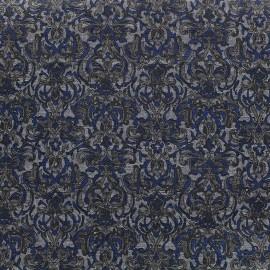Tissu jersey imprimé baroque - marine x 10cm