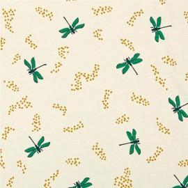 Tissu Coton bio Dragonflies - cream x 10cm