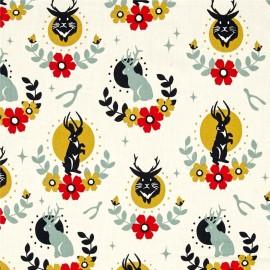 Tissu Coton bio Jackalope - cream x 31cm