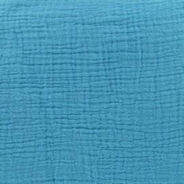 Tissu double gaze de coton - Lagon Camillette création x 10cm