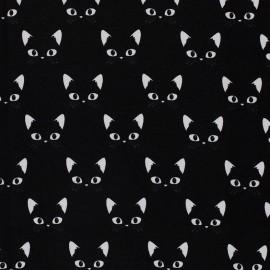 Tissu Jersey Miaou - noir x 10 cm