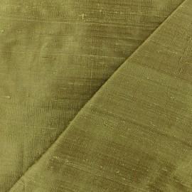 Tissu soie sauvage - vert olive x 10cm