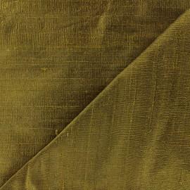 Wild Silk Fabric - khaki green x 10cm