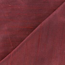 Tissu soie sauvage - rouge prune x 10cm