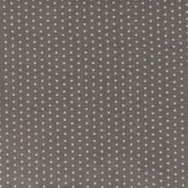 Coated cotton fabric Froufrou dot - taupe x 10cm