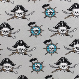 Poppy jersey fabric Jolly Roger - grey x 10cm
