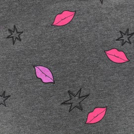 Jersey fabric Stars and Lips - anthracite x 10cm