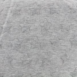 Jersey jacquard fabric Stars - grey x 10cm