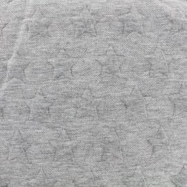 Tissu jacquard jersey Stars - gris x 10cm