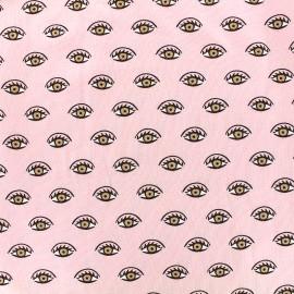 Tissu jersey Poppy Shining eyes - rose x 10cm