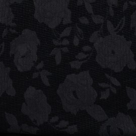 Tissu jacquard velours Blossom - noir x 10cm