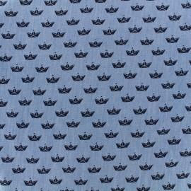 Tissu Jeans chambray Origami - marine x 10cm