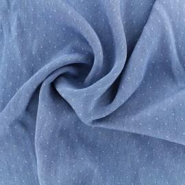 Tissu viscose Denim dot - bleu x 10cm