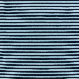 Striped glittery Jersey Fabric - turquoise/navy x 10cm