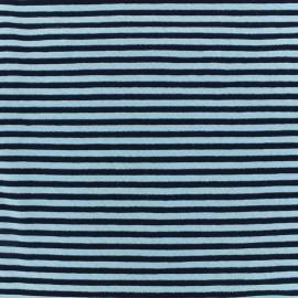 Tissu jersey Rayures glitter - turquoise/marine x 10cm