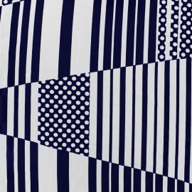 Tissu crêpe Abstract - marine x 10cm
