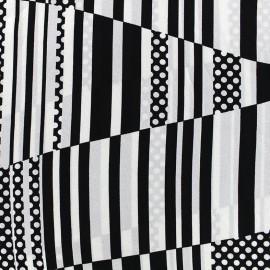 Tissu crêpe Abstract - noir x 10cm