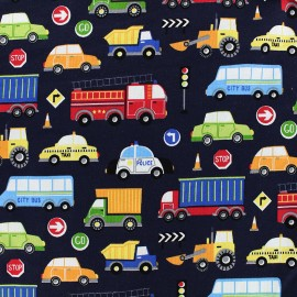 Jersey fabric In the city - navy x 15cm