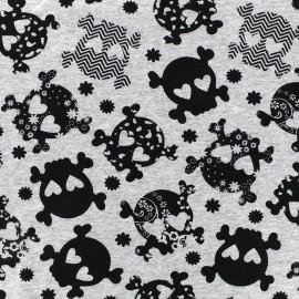Tissu jersey Fantasy skull - gris x 10cm