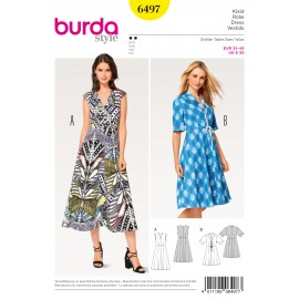 Dress V-Neck Spade Collar Burda Sewing Pattern N°6497