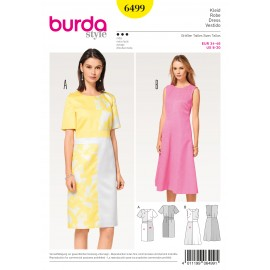 Dress with Offset Bands at the Waist Burda Sewing Pattern N°6499