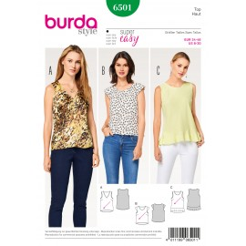 Top - V-Neck Hem Flounce Burda Sewing Pattern N°6501