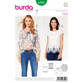 Blouse Folklore Peasant Blouses Raglan Sleeves Burda Sewing Pattern N°6502