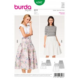 Pleated Skirt Pleats Stitched at the Top Burda Sewing Pattern N°6507