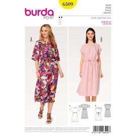 Dress Elastic Waist Burda Sewing Pattern N°6509
