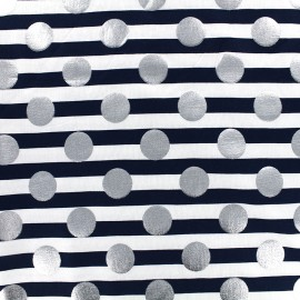 Tissu jersey rayures Silvery dot - marine x 10cm