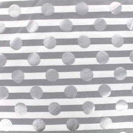 Jersey fabric rayures Silvery dot - grey x 10cm