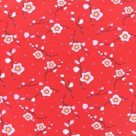 Tissu jersey Sakura - rouge x 10cm