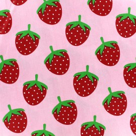Tissu coton Fraise - rose x 10cm