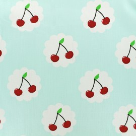 Cotton fabric Cherry - light blue x 10cm