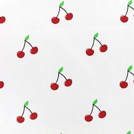 Tissu coton Cherry - blanc x 10cm