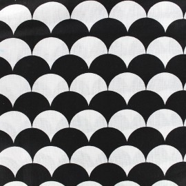 Cotton fabric Graphic black - wave x 10cm