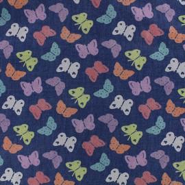 Tissu Jeans fluide Butterfly multi - bleu x 10cm