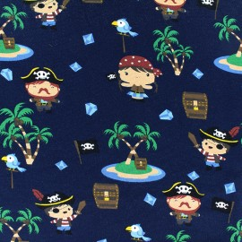 Tissu jersey Happy Pirates - bleu marine x 18cm