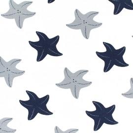 Jersey fabric Starfish - white x 10cm