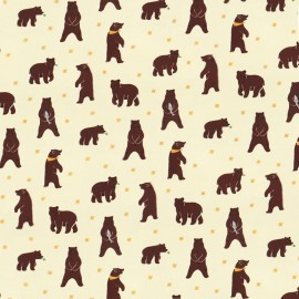 Coated cotton fabric Daily Like - Grizzly bear x 10cm
