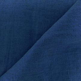 Thevenon washed Linen Fabric - petrol blue x 10cm