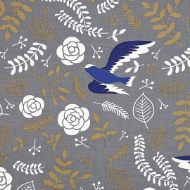 Tissu coton Daily Like - Blue bird x 60cm