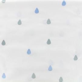 Tissu coton brodé Daily Like - Rain drop x 10cm