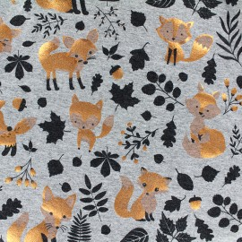 Jersey fabric Copper Fox - gris x 22cm