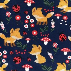 Tissu jersey Sweet Fox - marine x 19cm