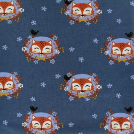 Jersey fabric Sweet Foxy - navy x 12cm
