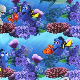 Jersey fabric Nemo et Dory - blue x 24cm