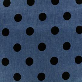 Tissu Jeans fluide Big dot - bleu x 10cm