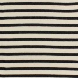 Striped Padded sweat fabric - black x 10cm