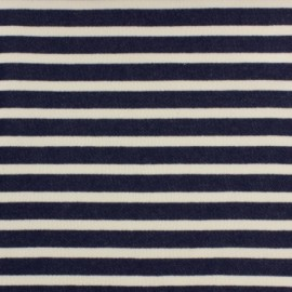 Striped Padded sweat fabric - navy x 10cm